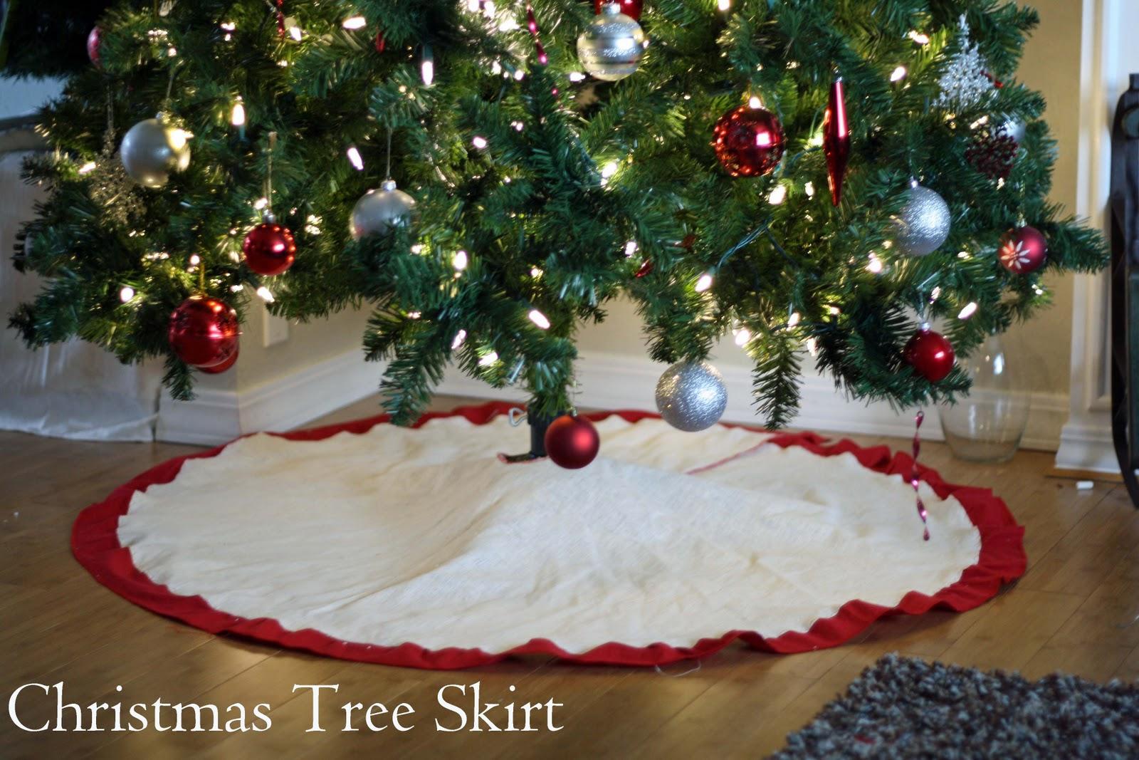 Running with scissors christmas tree skirt