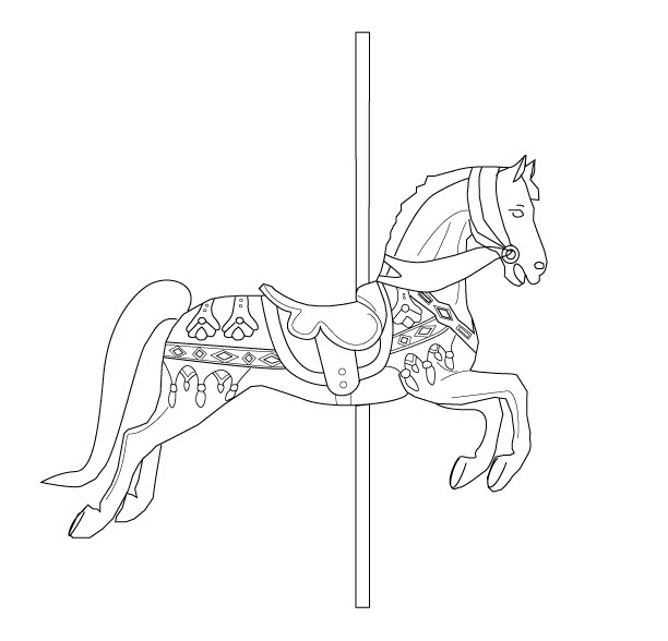 Free carousel embroidery pattern for Carousel horse coloring page