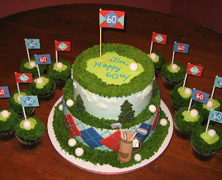 Golf birthday cake and cupcakes