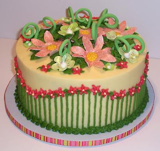 birthday cake with flowers and swirls