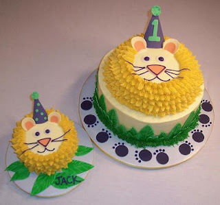 first birthday lion cake and smash cake