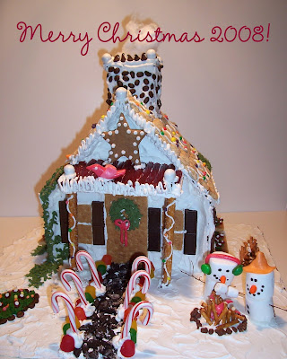 gingerbread house with snowmen