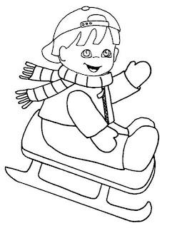 colorear invierno niña esquiando