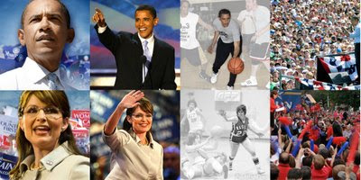 scott brown, sarah palin, barack obama basketball