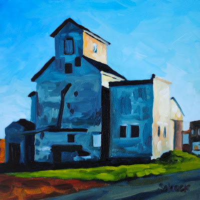 grain elevator oil painting
