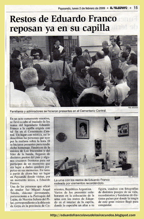 Nota periodística  aparecia  en el  Diario EL TELEGRAFO de Paysandú.