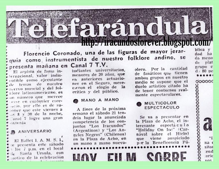 RECUERDO   DE LA VISITA  DEL AÑO 1970