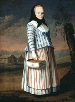 Nils Schillmark: Mansikkatyttö 1780-luku, tytöllä huivin alla punaihen myssy ja sen alla kankainen tykki.