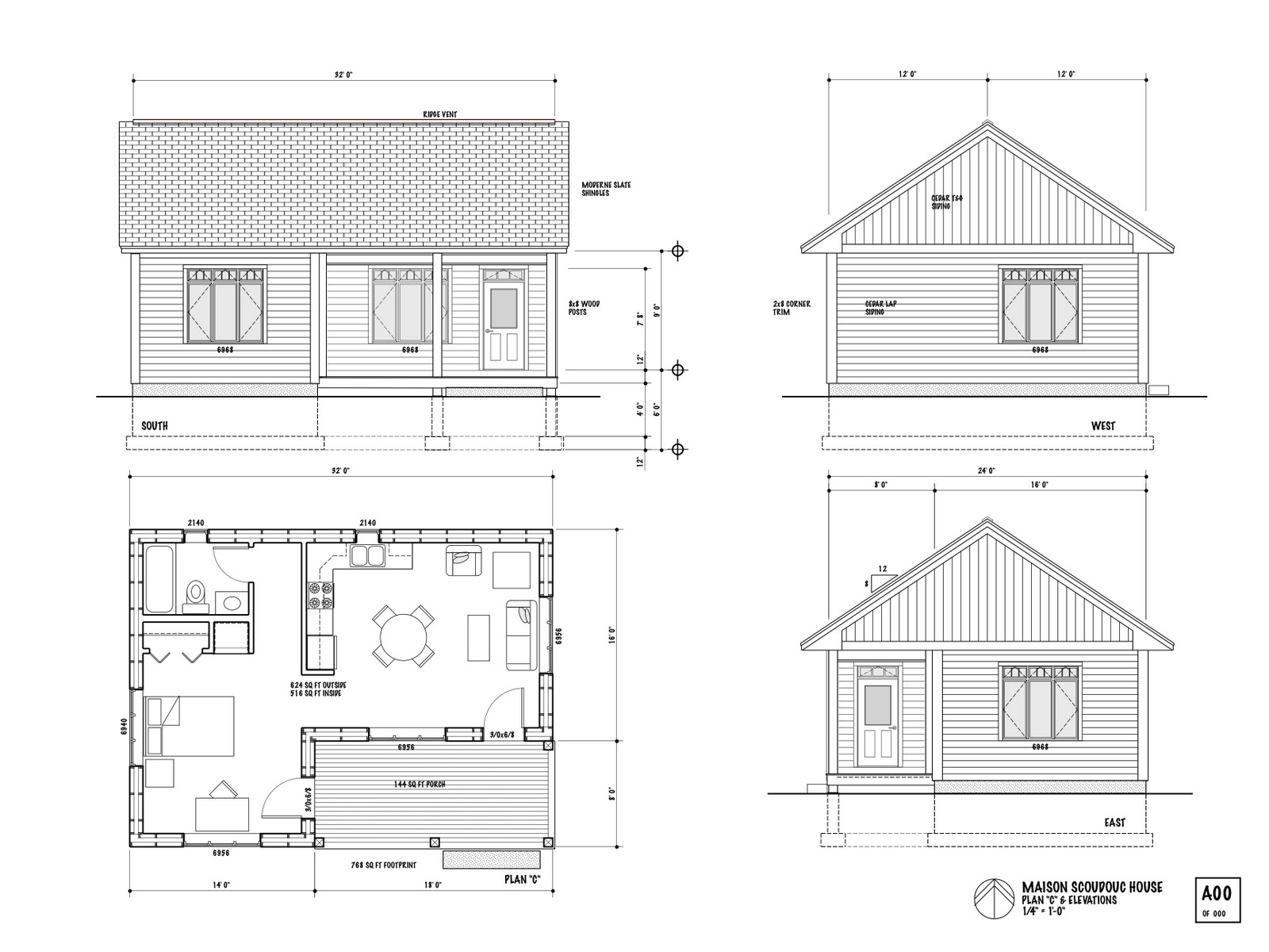 the maison scoudouc house plan c is designed as a small 624 sq ft one