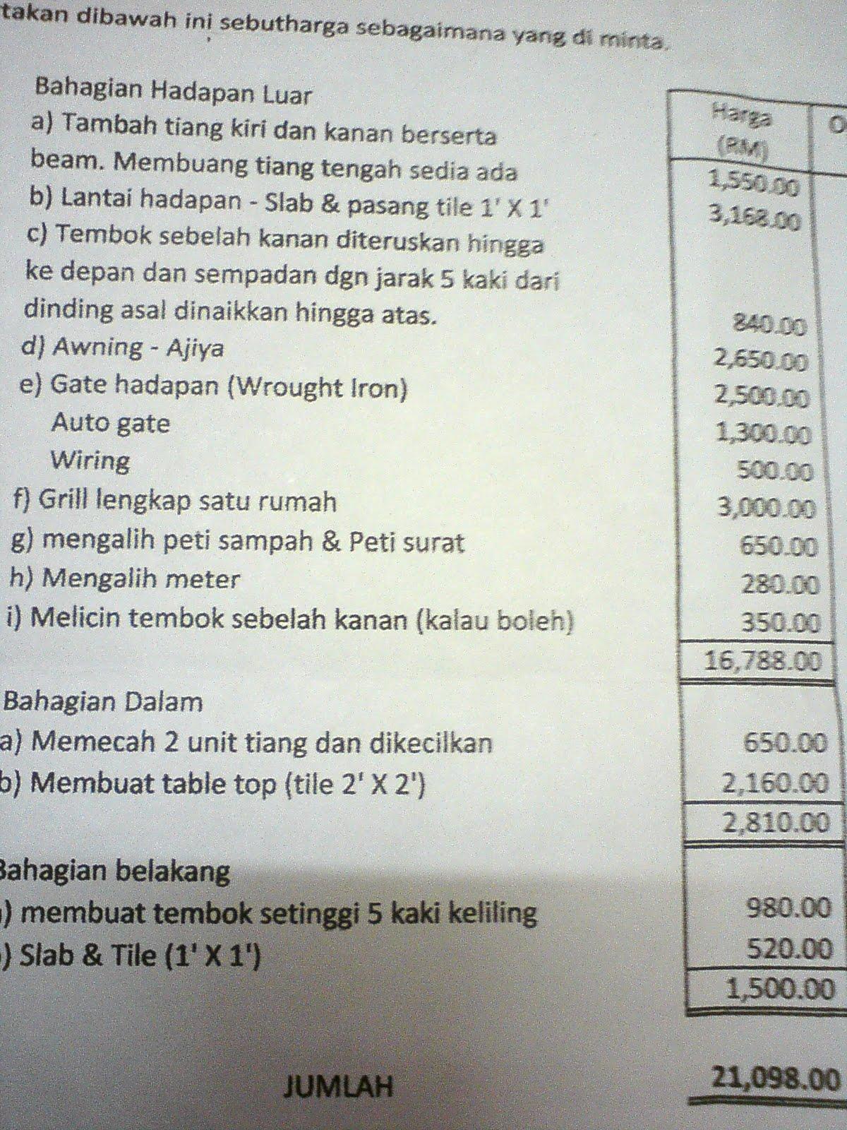 Kontraktor Binaan Sg kapar Indah: Contoh Quotation