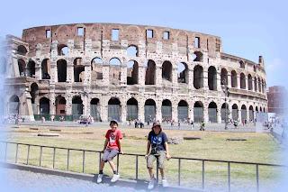 Zane and Darian admire the Colosseum
