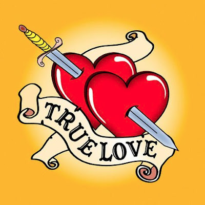 Double true love heart tattoo with dagger and banners.