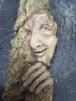 polymer clay, wooden spirit