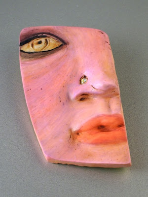 polymer clay face bead or pin