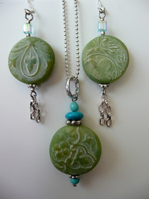 polymer clay faux jade jewelry