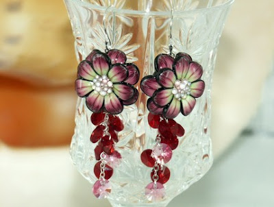 polymer clay flower earrings
