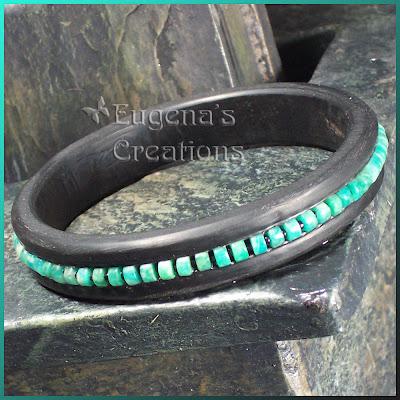 polymer clay and blue kiwi bracelet