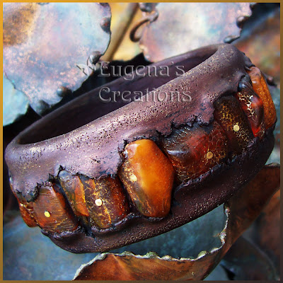 polymer clay and amber bracelet