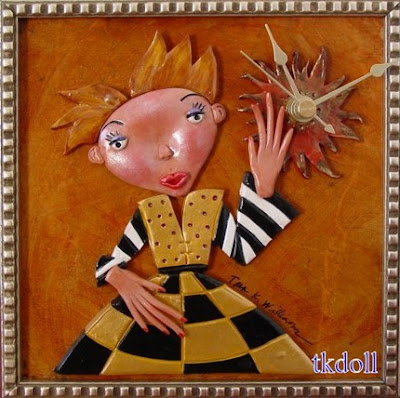 polymer clay art doll clock