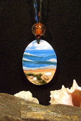 polymer clay scenic pendants
