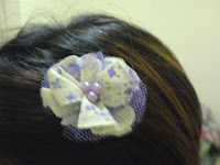 purple bead flower hair pin at my hair
