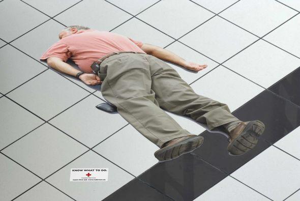 Fallen man sticker advertisement