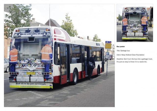 Garbage bus advertisement