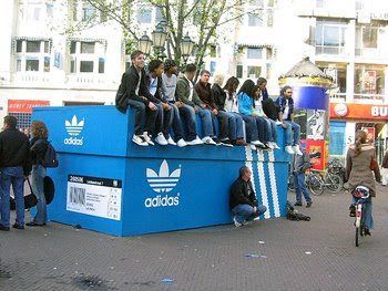 Giant Adidas shoebox advertisement