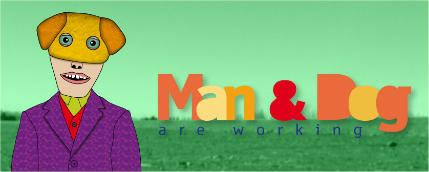 man & dog are working