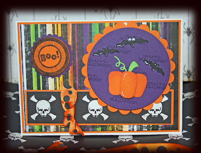 Halloween card made with Stampin' Up Pumpkin Pie and Elegant Eggplant card and Papertrey tags