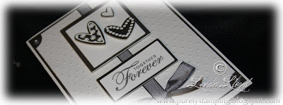 Wedding card made with Stampin Up Whisper White cardstock and a Martha Stewart punch - thumbnail