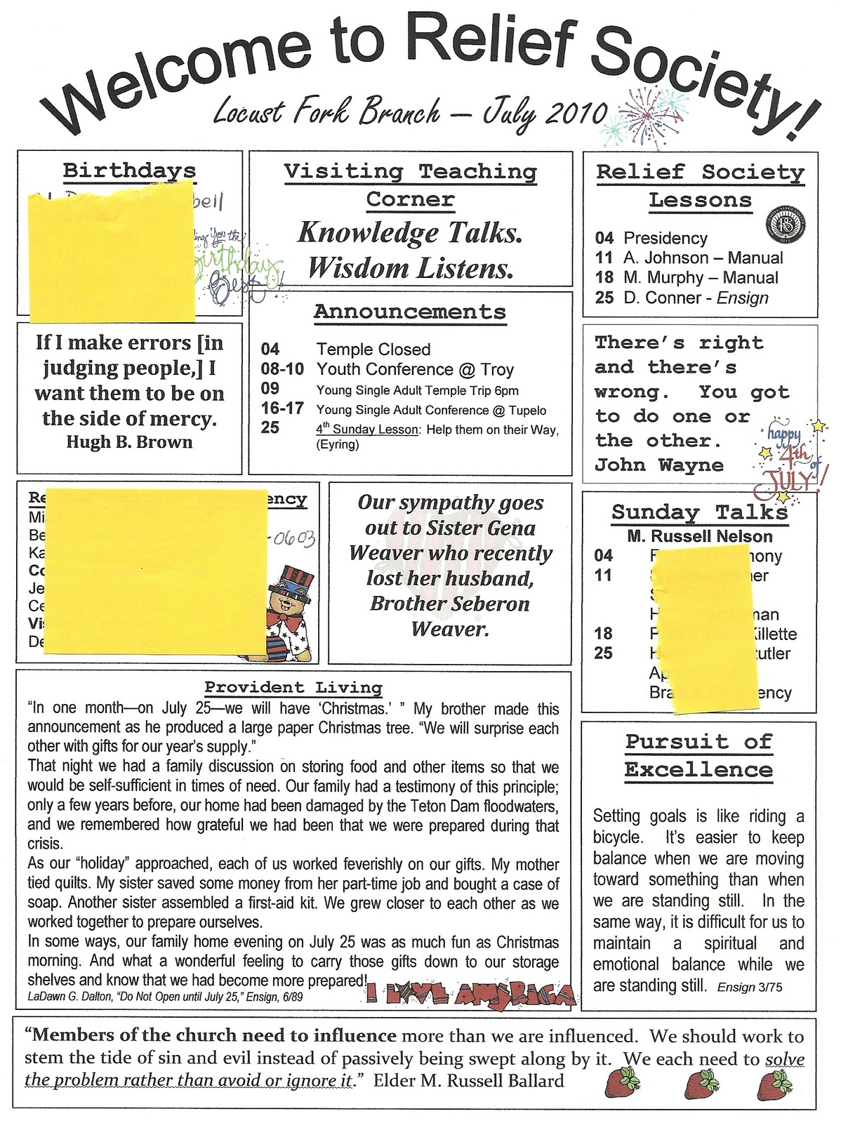 homemaker s journal church newsletter ideas