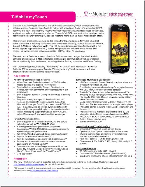 T-Mobile myTouch Specs