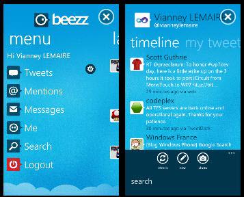 beezz wp7 twitter app