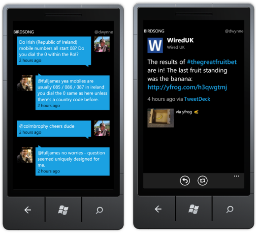 Birdsong twitter application for windows phone 7