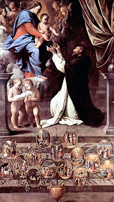 Nossa Senhora da o terço a São Domingos de Gusmão, Orações e  milagres medievais