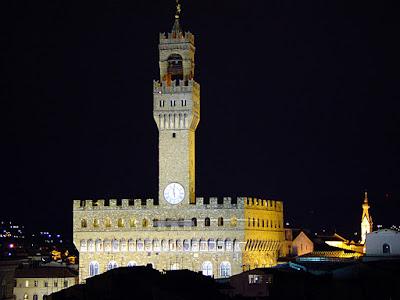 Palácio da Signoria na noite, Florença, a Cidade Medieval