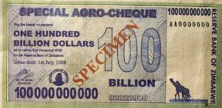 Nota 100 bilhoes dolares zimbabuanos