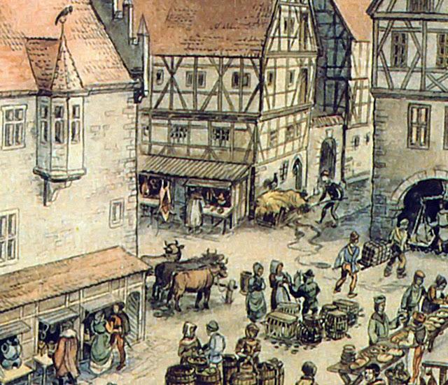 Praça medieval, séculos XII-XIII