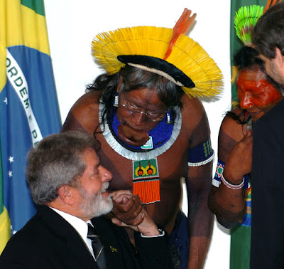 Presidente Lula conversa com cacique Raoni, Planalto, José Cruz-ABr