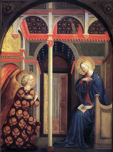 Anunciação. Tomasso di Masolino (1383 – 1447).  National Gallery of Art, Londres.