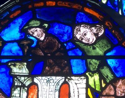 Mestre pedreiro e aprendiz. Catedral de Chartres, vitral de São Silvestre
