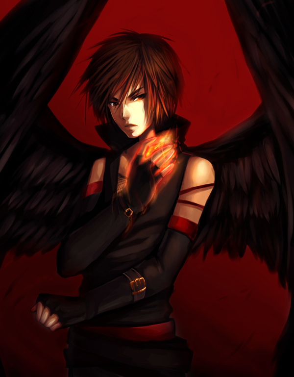 Anime Angels with Black Wings