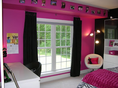 pink black zebra room
