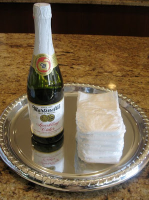 diaper cake using sparkling cider