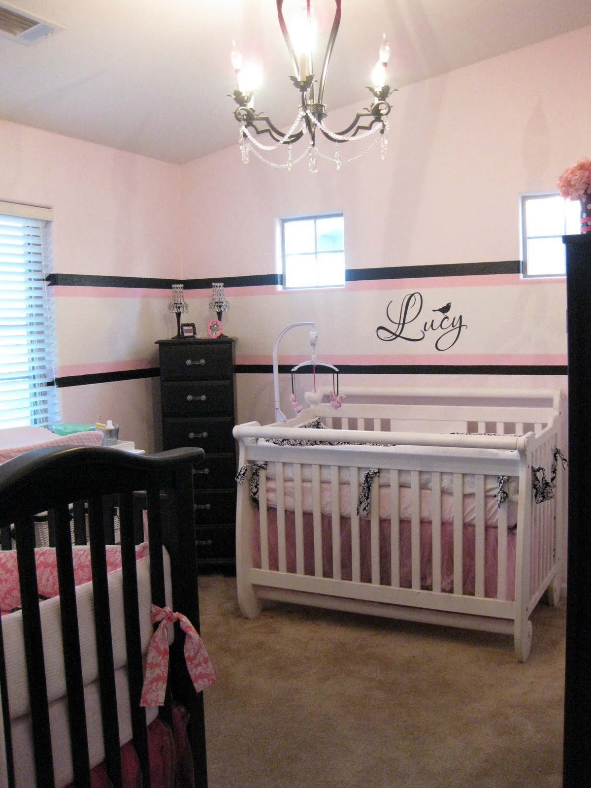 Black, Pink U0026 White Twin Girl Nursery Part 98