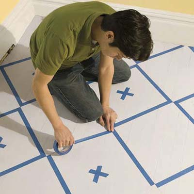 How To Paint A Floorcheckerboard Style With Step By Step Instructions.