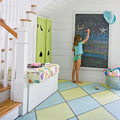 Diy painting your kids playroom or bedroom floor design Playroom flooring ideas
