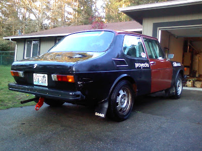 1975 Saab 99 EMS Rally Car, 2 weeks before Olympus Rally 2010 in Ocean Shores, WA