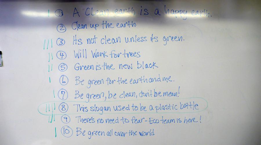 PS40 Super Green Eco Team 2010-11: Slogans!